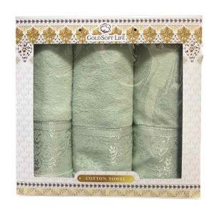 купить Набор махровых полотенец Gold Soft Life Hindistan 50x90 2шт и 70x140 зеленый
