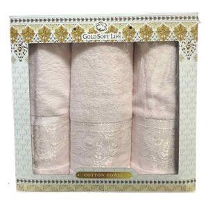 купить Набор махровых полотенец Gold Soft Life Hindistan 50x90 2шт и 70x140 розовый