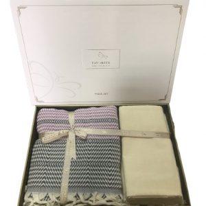 купить Постельное белье с пике Favorite лен Hohgkong lila gri Серый|Лиловый фото