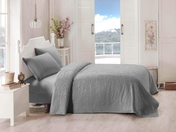 купить Покрывало-простынь махровая TAC Lyon 200x220 серый