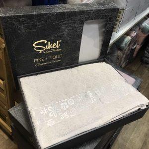 купить Махровая простынь-покрывало Пике Sikel cotton Botanik 200x220 бежевый
