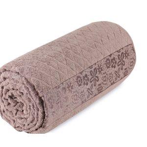 купить Махровая простынь-покрывало Пике Sikel cotton Botanik 200x220 коричневый