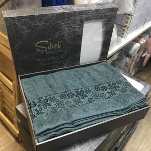 купить Махровая простынь-покрывало Пике Sikel cotton Botanik 200x220 зеленый