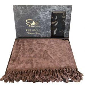 купить Махровая простынь-покрывало Пике Sikel жаккард Lilyum Penye 200x220 сливовый