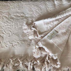 купить Махровая простынь-покрывало Пике Sikel жаккард Lilyum Penye 200x220 персиковый