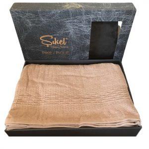 купить Махровая простынь-покрывало Пике Sikel cotton Imperial 200x220 пудровый