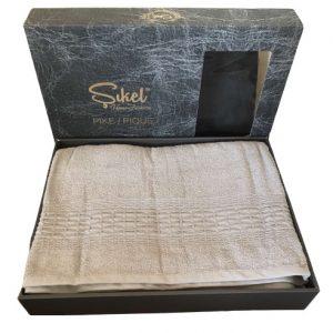 купить Махровая простынь-покрывало Пике Sikel cotton Imperial 200x220 серый