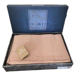 купить Вафельное покрывало-простынь Пике Favorite Gold 200x240 светлая роза