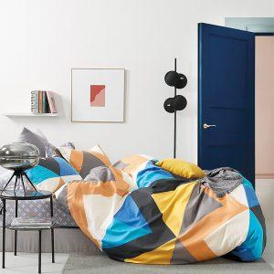 купить Постельное белье Bella Villa Сатин B-0304 Голубой|Оранжевый фото
