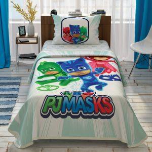 купить Детское постельное белье с покрывалом-пике TAC PJ Masks Team Бирюзовый фото
