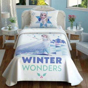 купить Детское постельное белье с покрывалом-пике TAC Frozen2 Wonders Голубой фото