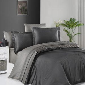 купить Постельное белье First Choice сатин De Luxe двухцветный 200х220 anthracite-smoke Серый фото