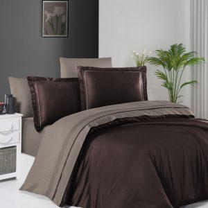 купить Постельное белье First Choice сатин De Luxe двухцветный 200х220 dark brown-mink Коричневый фото