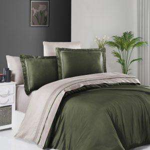 купить Постельное белье First Choice сатин De Luxe двухцветный 200х220 dark green-sand Зеленый фото