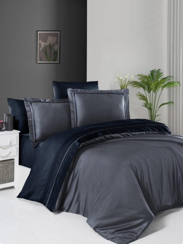 купить Постельное белье First Choice сатин De Luxe двухцветный 200х220 dark grey-navy blue Серый|Синий фото