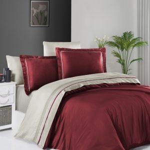 купить Постельное белье First Choice сатин De Luxe двухцветный 200х220 dark red-beige Красный|Бежевый фото