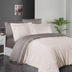 купить Постельное белье First Choice сатин De Luxe двухцветный 200х220 ivory-mink Кремовый|Серый фото