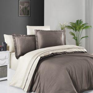 купить Постельное белье First Choice сатин De Luxe двухцветный 200х220 mink-cream Кремовый|Серый фото