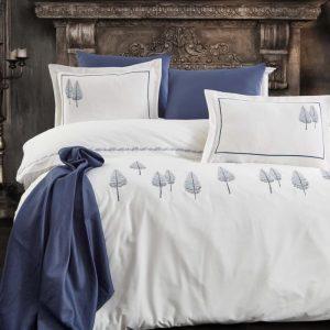 купить Постельное белье премиум cатин с вышивкой Dantela PAMIRA LACIVERT Кремовый Синий фото