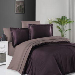 купить Постельное белье First Choice сатин De Luxe двухцветный 200х220 purple-lilac Лиловый фото