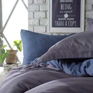 купить Постельное белье сатин Dantela vita TUANA BLUE Серый Синий фото
