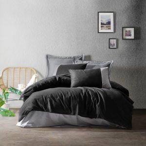 купить Постельное белье Cotton box SIYAH GRI Серый Черный фото