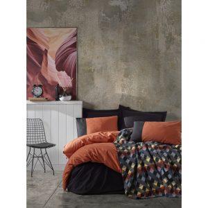 купить Постельное белье с пледом Cotton box KIREMIT SIYAH Оранжевый Черный фото