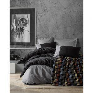 купить Постельное белье с пледом Cotton box SIYAH GRI Серый Черный фото