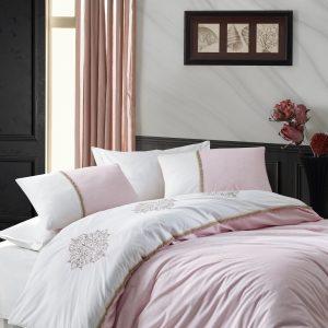 купить Постельное белье с вышивкой Cotton Box Carel Pudra Розовый фото