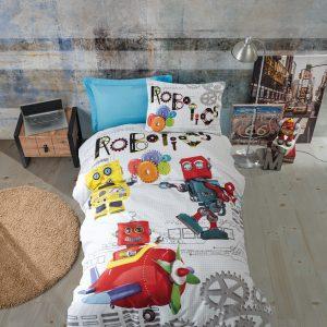 купить Постельное белье Cotton Box Robot Mavi Серый|Красный фото