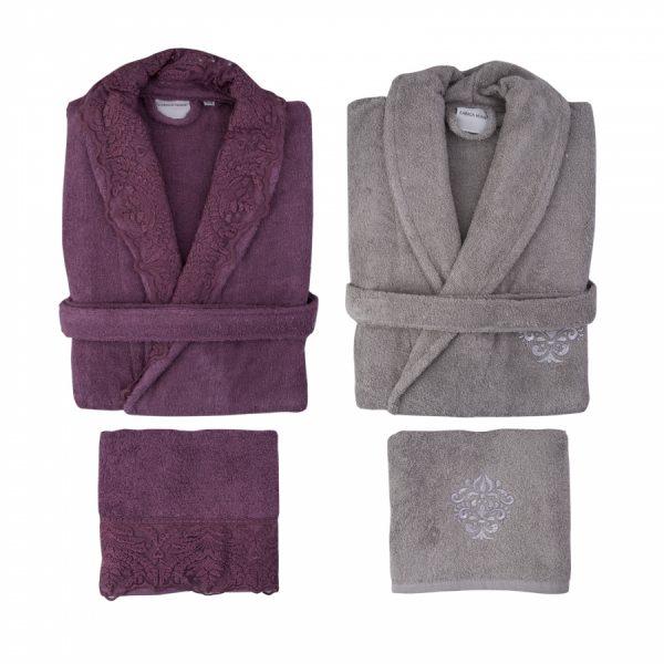 купить Набор халат с полотенцем Karaca Home Drisela 2018-2 murdum
