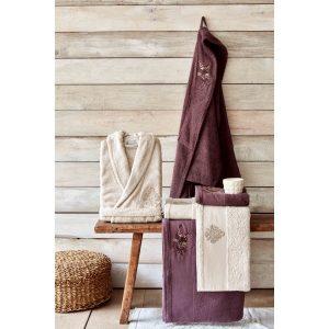 купить Набор халат с полотенцем Karaca Home Fronda Murdum-Bej
