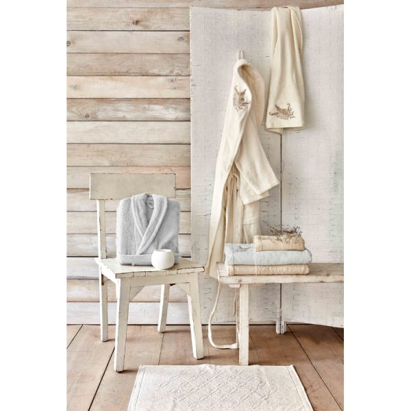 купить Набор халат с полотенцем Karaca Home Fronda Offwhite-Gri