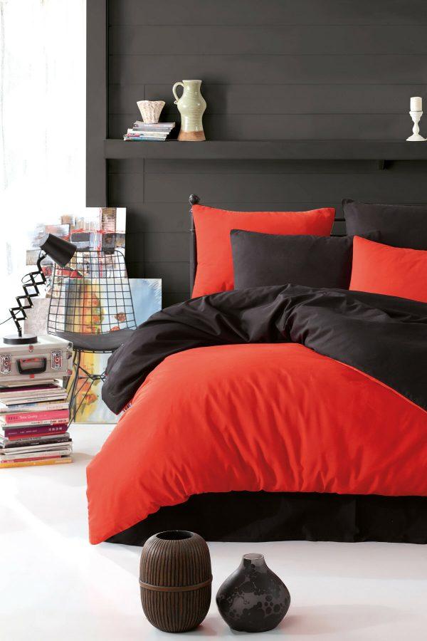 купить Постельное белье Eponj Home Paint Mix Kirmizi-Siyah Оранжевый|Черный фото
