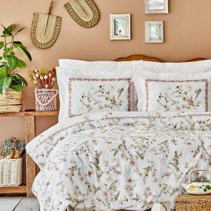 купить Постельное белье Karaca Home ранфорс Calantha somon Кремовый фото