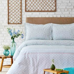 купить Постельное белье Karaca Home ранфорс Lilian pembe Голубой фото