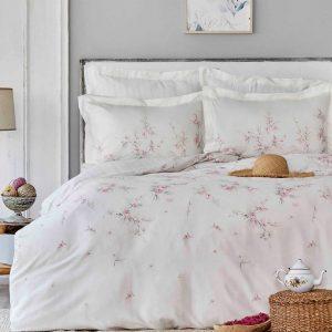 купить Постельное белье Karaca Home сатин Sante pudra Розовый|Белый фото