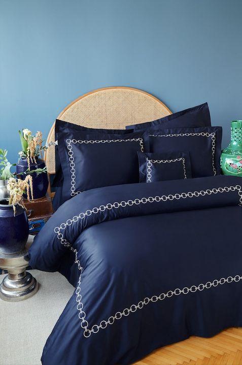 купить Постельное белье MieCasa сатин Circle lacivert-bej king size Синий фото