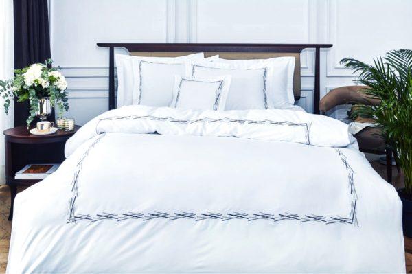 купить Постельное белье MieCasa сатин Florida lacivert-gri Белый фото