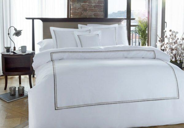 купить Постельное белье MieCasa сатин Houston kahve-bej Белый фото