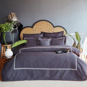 купить Постельное белье MieCasa сатин Milano antrasit-gri king size Серый|Черный фото