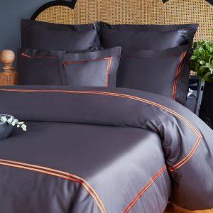 купить Постельное белье MieCasa сатин Milano antrasit-turuncu Серый|Черный фото