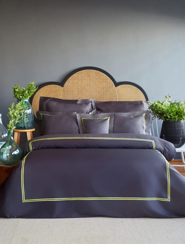 купить Постельное белье MieCasa сатин Milano antrasit-yesil king size Серый|Черный фото