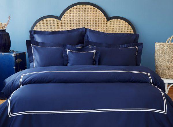 купить Постельное белье MieCasa сатин Milano lacivert-bej king size Синий фото