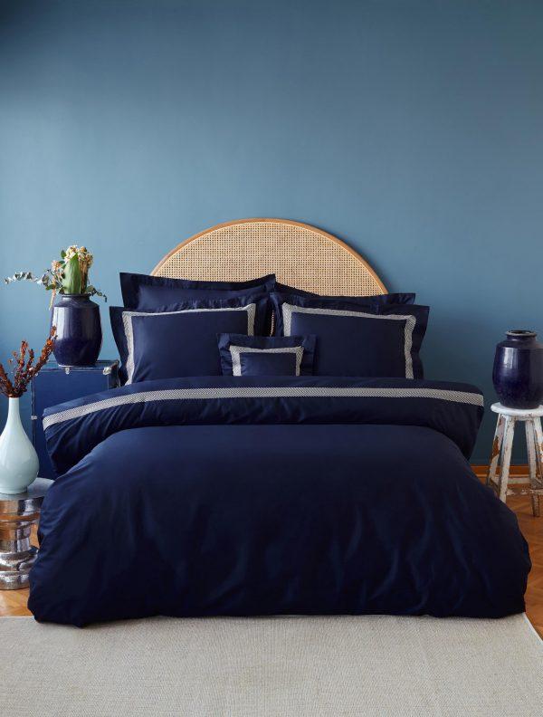 купить Постельное белье MieCasa сатин Sydney lacivert-bej king size Синий фото