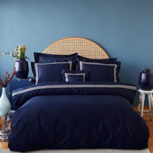 купить Постельное белье MieCasa сатин Sydney lacivert-gold Синий фото