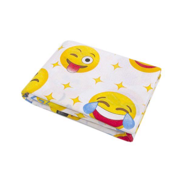 купить Простынь Iris Home ранфорс для подростков Emoji желтый 150*210